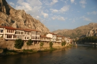 Houses on the shores of Amasya Yesil Irmak (River).