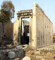The ruins of the Temple of Augustos and the Rome. The temple is also known as Monumentum Ancyranum which is located in Ulus District.