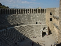 The ancient Aspendos ruins and antique theater.