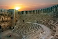 Aspendos Antique City and Amphitheater in Antalya Mediterranean Sea Holiday