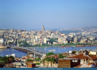 A general View of Istanbul City with Galata Bridge and Tower.