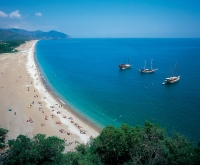General view of sandy beach of Olympos Antalya Turkey.