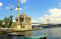 The mosque in Ortakoy District of Istanbul Bosphorus Strait and the bridge