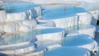 The cotton castle as called in Turkish , Pamukkale Denizli
