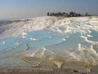 A view from the above of Travertines of Pamukkale.